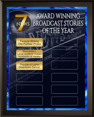 Award Winning Broadcast Stories of the Year Award Plaque