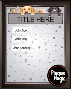 Dogs and Cats - Perpetual Recognition Award Plaque - 12Plate