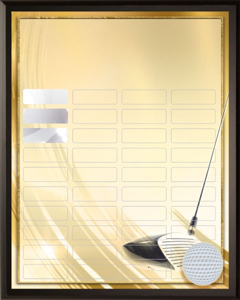 Golden Golf - 40 Plate Perpetual Plaque