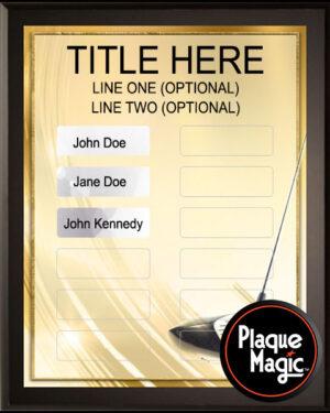 Golden Golf - 12 Plate Perpetual Plaque