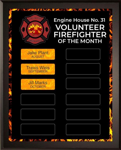 Volunteer Firefighter Award Plaque Sample