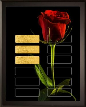 Single Red Rose - 12 Plate Perpetual Plaque