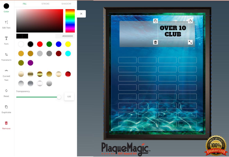 Text alteration: Pick a text color.