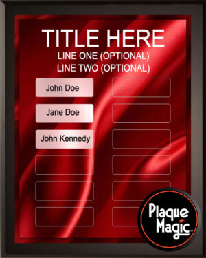 Red Satin - Perpetual Recognition Award Plaque - 12Plate